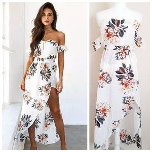 Dresses & Skirts - Boho Summer Maxi Floral Split Dress Off Shoulder
